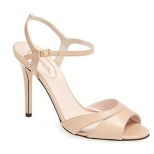 SJP 'Anna' Sandal - Nude Leather Heel